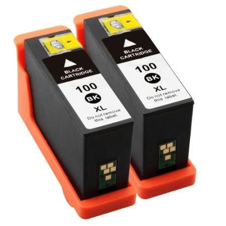 100 – 2 Cartouches D'encre équivalent LEXMARK 100 Compatibles NOIR XL