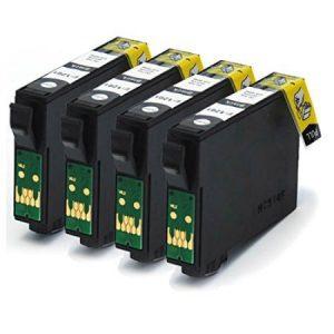 0801- 4 Cartouches D'encre équivalent EPSON T0801 Compatible «série Colibri»  NOIR