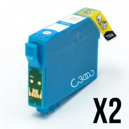"""1282 - 2 Cartouches d'encre compatibles équivalent EPSON T1282 """"série renard"""" CYAN"""