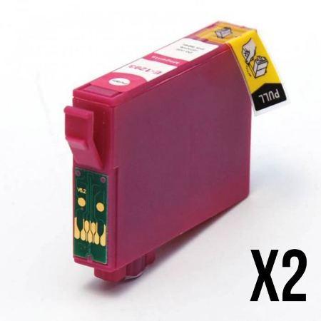 """1283 - 2 Cartouches d'encre compatibles équivalent EPSON T1283 """"série renard"""" MAGENTA"""