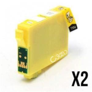 1634-2 Cartouches D'encre équivalents EPSON T1634 Compatible «série Stylo Plume» JAUNE XL