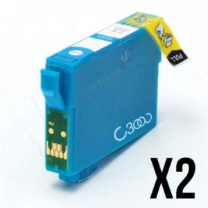 1812- 2 Cartouches D'encre équivalent EPSON T1812 Compatible «série Pâquerette» CYAN XL