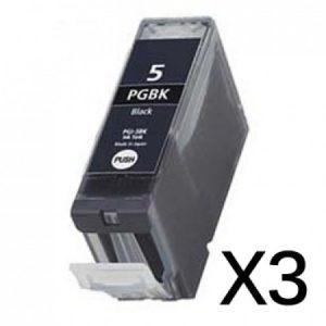 5 – 3 Cartouches D'encre équivalent CANON PGI-5 Compatible (PGI5)  NOIR