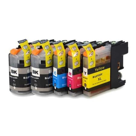 123-  5 Cartouches d'encre équivalent BROTHER LC-123 compatible (LC123) Pack 5 cartouches 2 noires et 3 couleurs