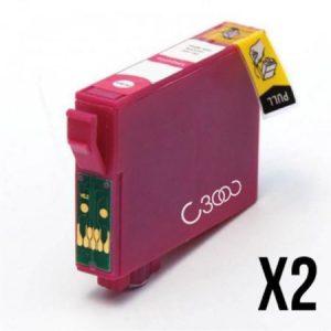 0613-2 Cartouches D'encre équivalent EPSON T0613 Compatible « Série Ourson »  MAGENTA
