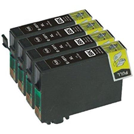 1811-Cartouches D'encre X 4 équivalent EPSON  T1811 Compatible «série Pâquerette»  NOIR XL
