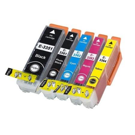 """3357-Cartouche d'encre équivalent EPSON T3357 compatible """"série Orange"""" pack 5 couleurs XL"""