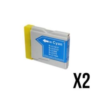 970/1000- 2 Cartouches D'encre équivalent BROTHER LC-970/1000 Compatible (LC1000  LC970) CYAN