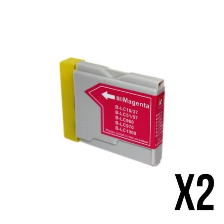 970/1000- 2 Cartouches d'encre équivalent BROTHER LC-970/1000 compatible (LC1000  LC970) MAGENTA