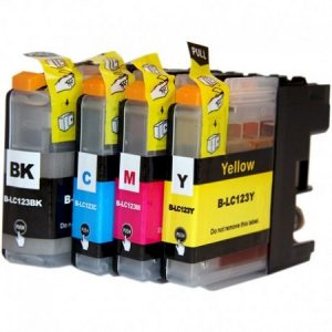123-Cartouche D'encre Compatible équivalent BROTHER LC-123PACK (LC123) MULTIPACK 4 CARTOUCHES