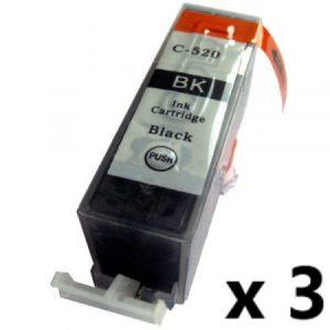 520 – Cartouche D'encre équivalent CANON PGI-520 Compatible (PGI520) PACK X 3 – NOIR