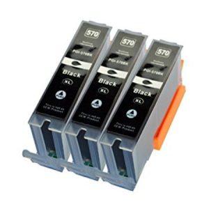 570 – 3 Cartouches D'encre équivalents CANON PGI-570 Compatible (PGI570) NOIR XL
