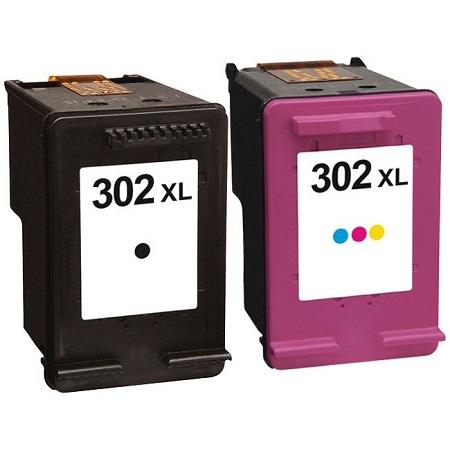 302 – Cartouche D'encre équivalent HP 302 XL PACK Compatible HP302 PACK 2 CARTOUCHES – NOIR XL  TRICOLOR