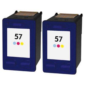 57 – Cartouche D'encre équivalent HP-57-C6657AE Compatible (HP57) TRICOLOR X 2