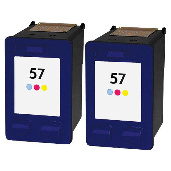 57 - Cartouche d'encre équivalent HP-57-C6657AE compatible (HP57) TRICOLOR X 2