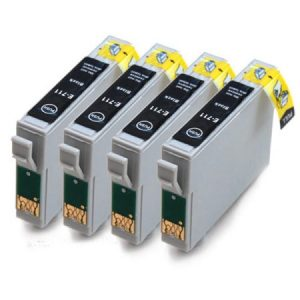 0711-Cartouches D'encre X 4 équivalent EPSON T0711 Compatible NOIR