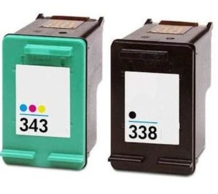 338/343 - Cartouche D'encre équivalent HP-338-343 Compatible (HP343 HP338) NOIR EtTRICOLOR