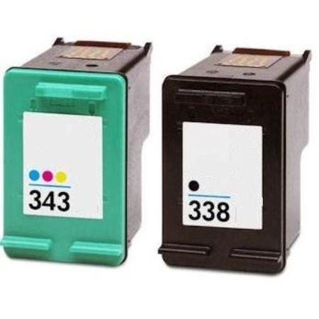 338 – 343 – Cartouche D'encre Compatible HP 338 343 – HP343 HP338 – Noir Et Tricolor