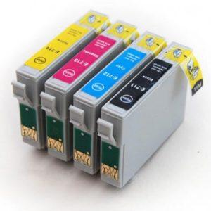 0715-Cartouche D'encre équivalent EPSON T0715 Compatible  PACK 4 COULEURS