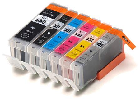 550 – 551 – 6 Cartouches Compatibles Canon PGI-550 CLI-551 – Pack 6 Couleurs