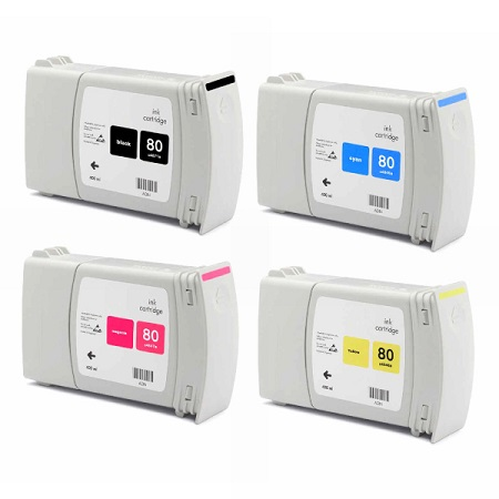 80 – Cartouches D'encre Compatibles HP 80 – HP80 – 4 Couleurs